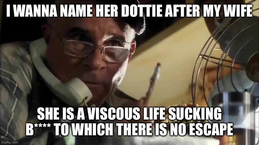 I wanna name her Dottie |  I WANNA NAME HER DOTTIE AFTER MY WIFE; SHE IS A VISCOUS LIFE SUCKING B**** TO WHICH THERE IS NO ESCAPE | image tagged in armageddon,wife,end of the world | made w/ Imgflip meme maker