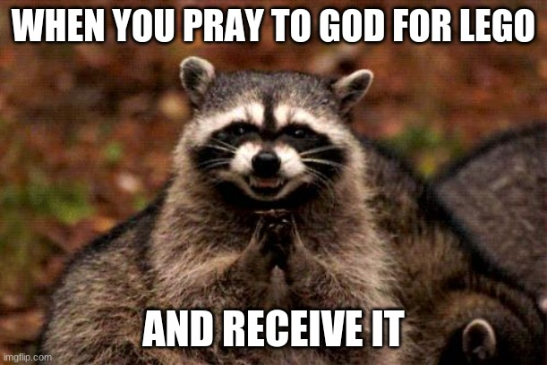 Evil Plotting Raccoon Meme |  WHEN YOU PRAY TO GOD FOR LEGO; AND RECEIVE IT | image tagged in memes,evil plotting raccoon | made w/ Imgflip meme maker