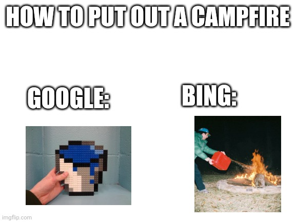 blank white template |  HOW TO PUT OUT A CAMPFIRE; BING:; GOOGLE: | image tagged in blank white template,bing,gasoline,google,water,fire | made w/ Imgflip meme maker