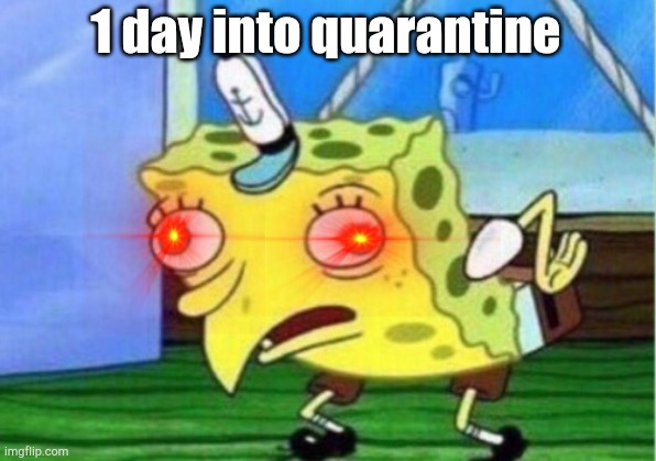 1 day into quarantine |  1 day into quarantine | image tagged in memes,mocking spongebob,covid-19,quarantine | made w/ Imgflip meme maker