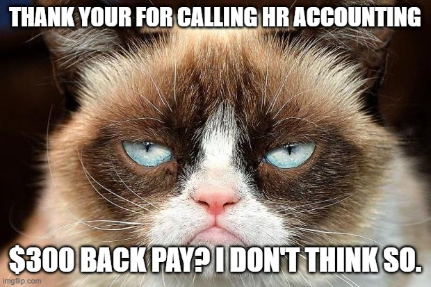 Back Pay |  THANK YOUR FOR CALLING HR ACCOUNTING; $300 BACK PAY? I DON'T THINK SO. | image tagged in memes,grumpy cat not amused,grumpy cat | made w/ Imgflip meme maker
