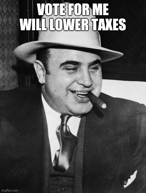 VOTE FOR ME WILL LOWER TAXES | image tagged in al capone | made w/ Imgflip meme maker