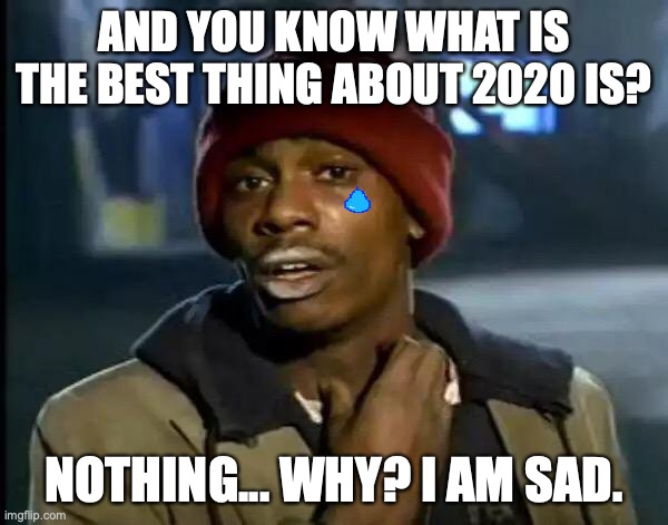 2020... sad year... |  AND YOU KNOW WHAT IS THE BEST THING ABOUT 2020 IS? NOTHING... WHY? I AM SAD. | image tagged in so true,sad,2020 | made w/ Imgflip meme maker