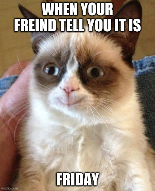 Grumpy Cat Happy |  WHEN YOUR FREIND TELL YOU IT IS; FRIDAY | image tagged in memes,grumpy cat happy,grumpy cat | made w/ Imgflip meme maker