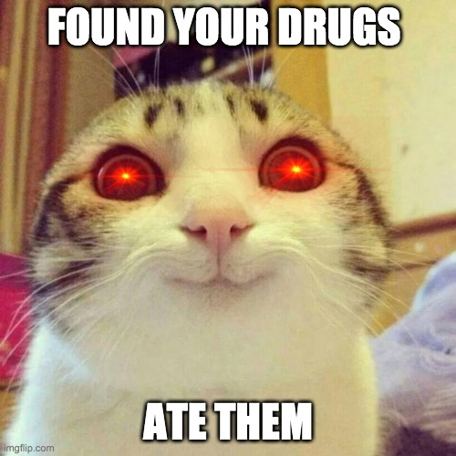 Smiling Cat |  FOUND YOUR DRUGS; ATE THEM | image tagged in memes,smiling cat | made w/ Imgflip meme maker