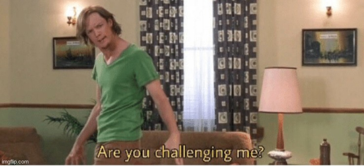 are you challenging me | image tagged in are you challenging me | made w/ Imgflip meme maker