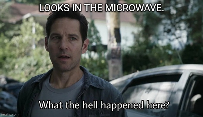 Ah the employee lounge... |  LOOKS IN THE MICROWAVE. | image tagged in microwave,what the hell happened here | made w/ Imgflip meme maker