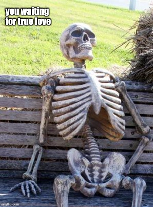 Waiting Skeleton |  you waiting for true love | image tagged in memes,waiting skeleton,true love,love,single,singles | made w/ Imgflip meme maker