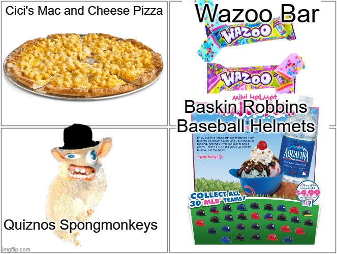 If you remember any of these things, You earn a veteran's discount! :D |  Wazoo Bar; Cici's Mac and Cheese Pizza; Baskin Robbins Baseball Helmets; Quiznos Spongmonkeys | image tagged in memes,veterans discount,nostalgia,childhood,funny | made w/ Imgflip meme maker