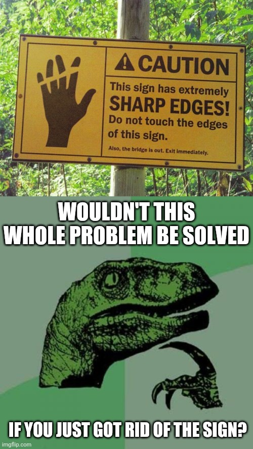 Lol what this doing? |  WOULDN'T THIS WHOLE PROBLEM BE SOLVED; IF YOU JUST GOT RID OF THE SIGN? | image tagged in memes,philosoraptor | made w/ Imgflip meme maker
