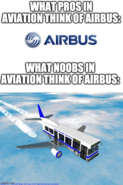 WHAT NOOBS AND PROS IN AVIATION THINK OF AIRBUS |  WHAT PROS IN AVIATION THINK OF AIRBUS:; WHAT NOOBS IN AVIATION THINK OF AIRBUS: | image tagged in blank white template,airbus | made w/ Imgflip meme maker