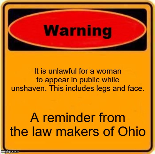 stupid laws |  It is unlawful for a woman to appear in public while unshaven. This includes legs and face. A reminder from the law makers of Ohio | image tagged in memes,warning sign | made w/ Imgflip meme maker