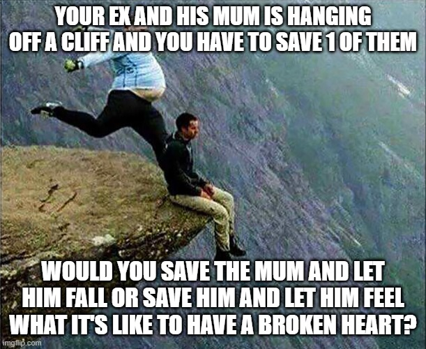 who would you pick? |  YOUR EX AND HIS MUM IS HANGING OFF A CLIFF AND YOU HAVE TO SAVE 1 OF THEM; WOULD YOU SAVE THE MUM AND LET HIM FALL OR SAVE HIM AND LET HIM FEEL WHAT IT'S LIKE TO HAVE A BROKEN HEART? | image tagged in kicked off cliff,broken heart,choices,kill,funny,boyfriend | made w/ Imgflip meme maker