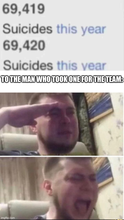 We salute you, sir |  TO THE MAN WHO TOOK ONE FOR THE TEAM: | image tagged in blank white template,crying salute,funny,memes,funny memes,suicide | made w/ Imgflip meme maker