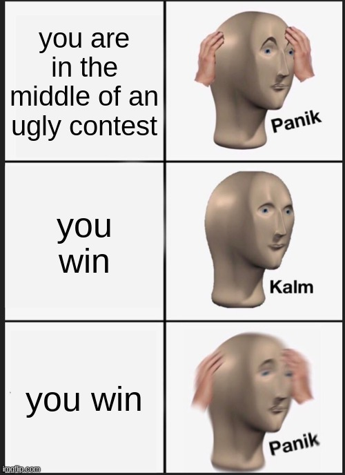 oh no |  you are in the middle of an ugly contest; you win; you win | image tagged in memes,panik kalm panik | made w/ Imgflip meme maker