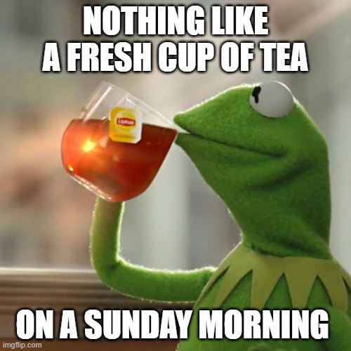 But That's None Of My Business |  NOTHING LIKE A FRESH CUP OF TEA; ON A SUNDAY MORNING | image tagged in memes,but that's none of my business,kermit the frog | made w/ Imgflip meme maker