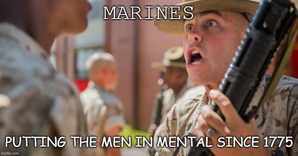 Marines HAHAHAHA |  MARINES; PUTTING THE MEN IN MENTAL SINCE 1775 | image tagged in marines,usmc,military humor,joke | made w/ Imgflip meme maker