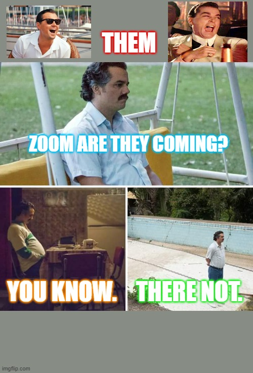 Sad Pablo Escobar Meme |  THEM; ZOOM ARE THEY COMING? YOU KNOW. THERE NOT. | image tagged in memes,sad pablo escobar | made w/ Imgflip meme maker