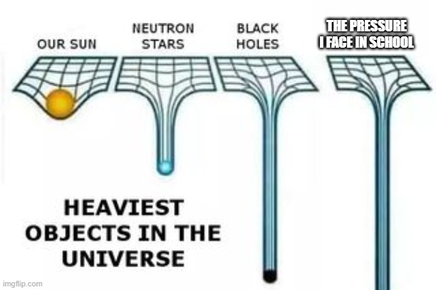 heaviest objects |  THE PRESSURE I FACE IN SCHOOL | image tagged in heaviest objects | made w/ Imgflip meme maker