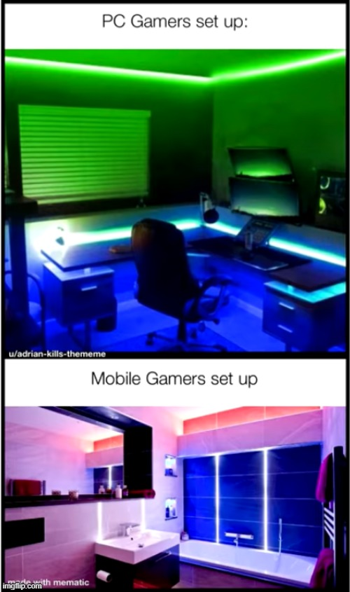 Gamers set up | image tagged in gaming,pc gaming,gamers,memes | made w/ Imgflip meme maker