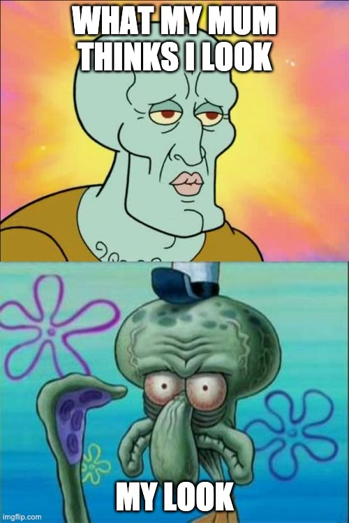 Squidward Meme |  WHAT MY MUM THINKS I LOOK; MY LOOK | image tagged in memes,squidward | made w/ Imgflip meme maker