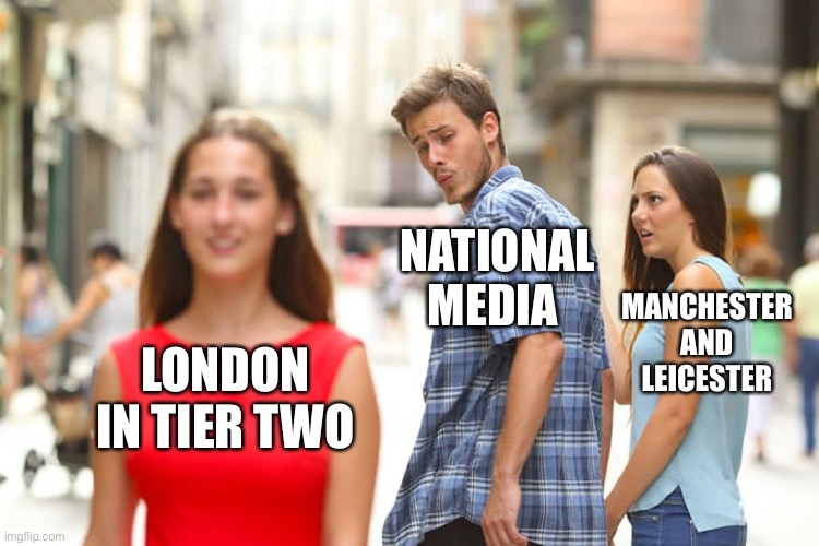COVID outside of the M25 |  NATIONAL MEDIA; MANCHESTER AND LEICESTER; LONDON IN TIER TWO | image tagged in memes,distracted boyfriend | made w/ Imgflip meme maker