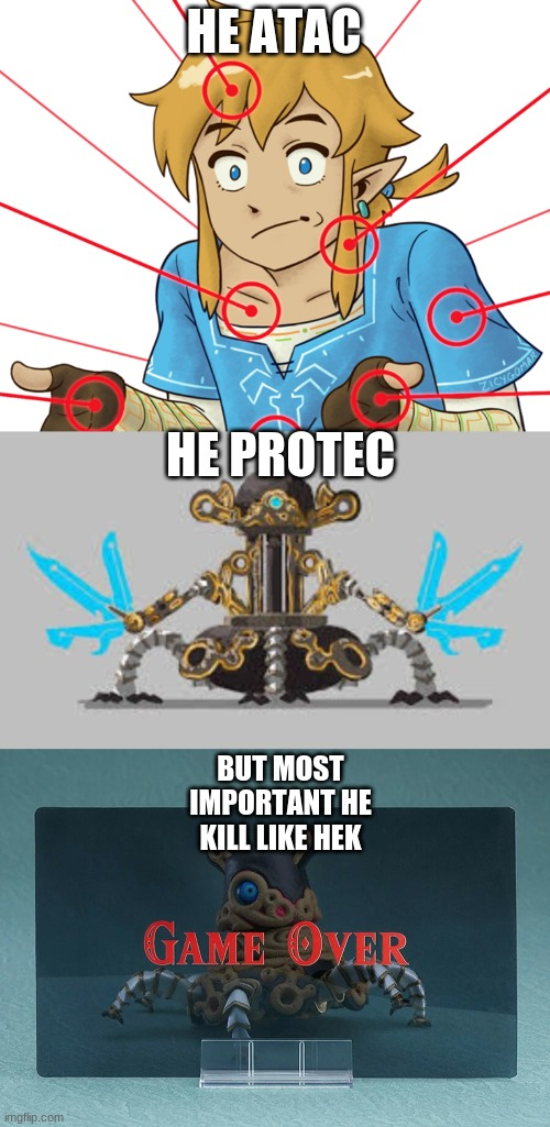 guardian |  HE ATAC; HE PROTEC; BUT MOST IMPORTANT HE KILL LIKE HEK | image tagged in guardian | made w/ Imgflip meme maker