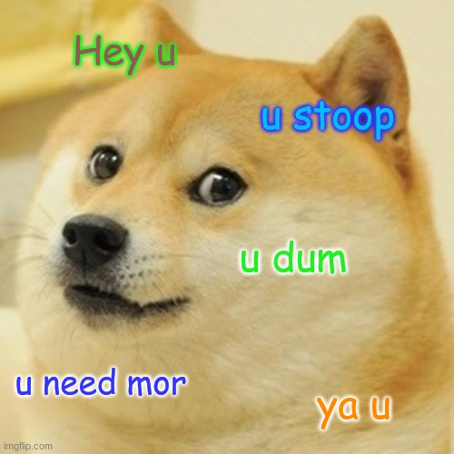 Doge Meme |  Hey u; u stoop; u dum; u need mor; ya u | image tagged in memes,doge | made w/ Imgflip meme maker