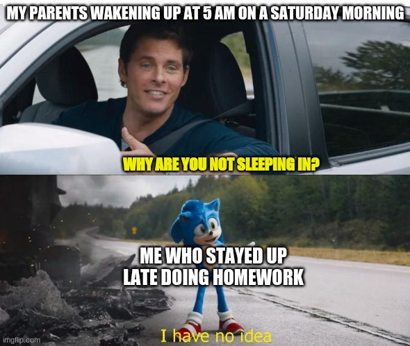 sonic how are you not dead |  MY PARENTS WAKENING UP AT 5 AM ON A SATURDAY MORNING; WHY ARE YOU NOT SLEEPING IN? ME WHO STAYED UP LATE DOING HOMEWORK | image tagged in sonic how are you not dead,school,homework,i don't know,weekend,parenting | made w/ Imgflip meme maker