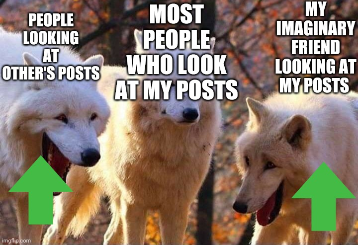 A true story |  MY IMAGINARY FRIEND LOOKING AT MY POSTS; MOST PEOPLE WHO LOOK AT MY POSTS; PEOPLE LOOKING AT OTHER'S POSTS | image tagged in laughing wolf,upvote,upvote if you agree,ignore,stop reading the tags,no upvotes | made w/ Imgflip meme maker