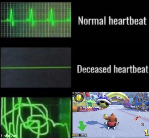 Mario Kart be like | image tagged in heartbeat rate,mario kart,mario kart 8,heartbeat,blue shell | made w/ Imgflip meme maker