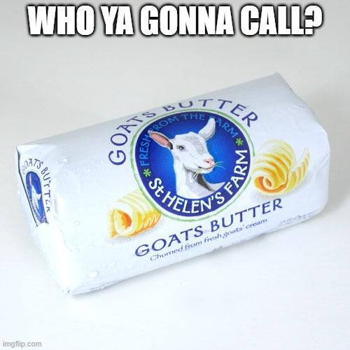 goats butter |  WHO YA GONNA CALL? | image tagged in humor memes | made w/ Imgflip meme maker