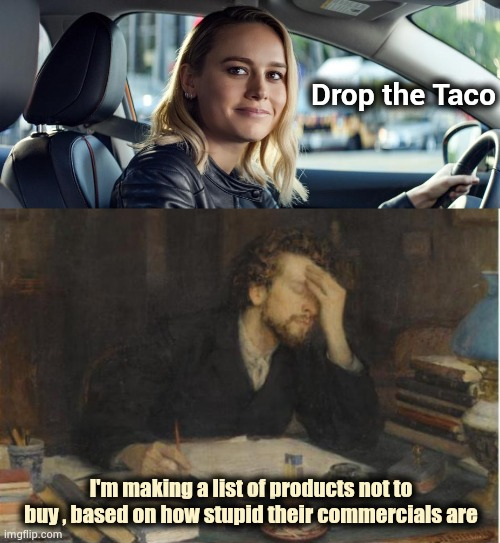 The Gecko and the Emu are on the list |  Drop the Taco; I'm making a list of products not to buy , based on how stupid their commercials are | image tagged in writer,dumb,commercials,go away,insults,intelligence | made w/ Imgflip meme maker