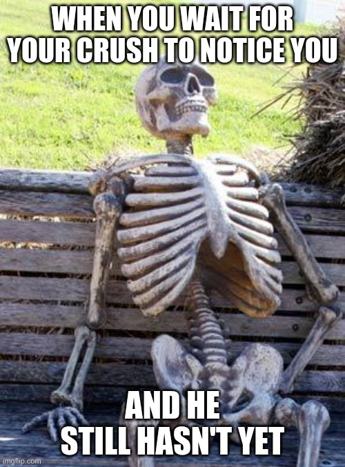Waiting Skeleton Meme |  WHEN YOU WAIT FOR YOUR CRUSH TO NOTICE YOU; AND HE STILL HASN'T YET | image tagged in memes,waiting skeleton | made w/ Imgflip meme maker