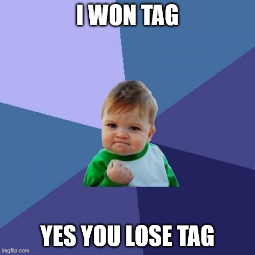 i won tag you lost tag |  I WON TAG; YES YOU LOSE TAG | image tagged in memes,success kid | made w/ Imgflip meme maker
