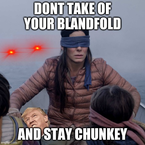 bird box |  DONT TAKE OF YOUR BLANDFOLD; AND STAY CHUNKEY | image tagged in memes,bird box | made w/ Imgflip meme maker
