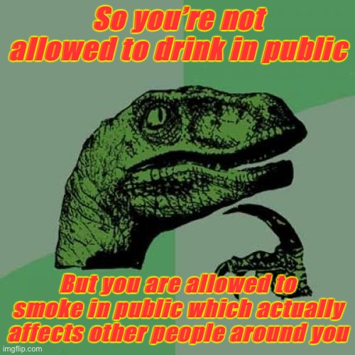 Philosoraptor Meme |  So you're not allowed to drink in public; But you are allowed to smoke in public which actually affects other people around you | image tagged in memes,philosoraptor | made w/ Imgflip meme maker