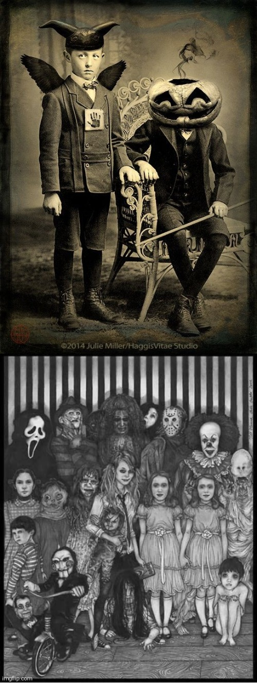some cool portrait stuff | image tagged in horror portrait,circus family | made w/ Imgflip meme maker