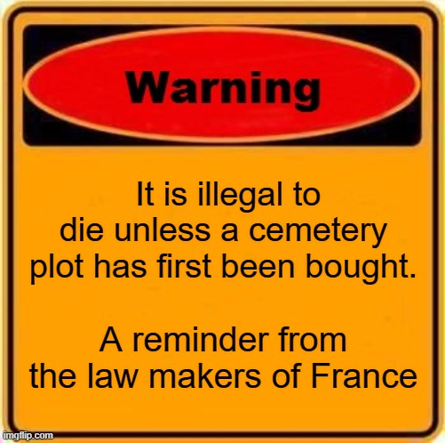 Stupid laws |  It is illegal to die unless a cemetery plot has first been bought. A reminder from the law makers of France | image tagged in memes,warning sign | made w/ Imgflip meme maker