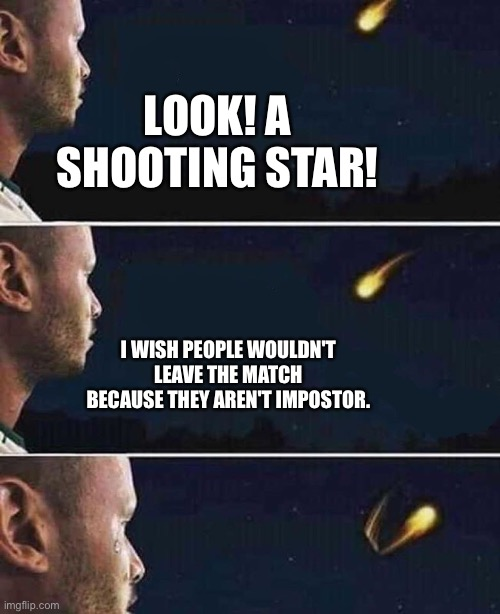 Don't be cringe |  LOOK! A SHOOTING STAR! I WISH PEOPLE WOULDN'T LEAVE THE MATCH BECAUSE THEY AREN'T IMPOSTOR. | image tagged in shooting star,among us,emergency meeting among us,funny,memes,charts | made w/ Imgflip meme maker