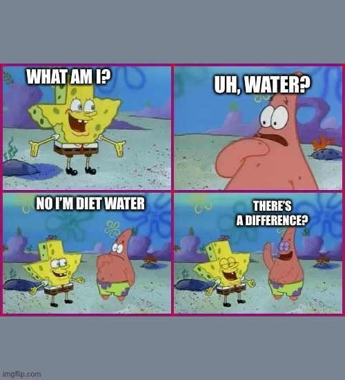 Texas Spongebob | WHAT AM I? UH, WATER? NO I'M DIET WATER THERE'S A DIFFERENCE? | image tagged in texas spongebob | made w/ Imgflip meme maker