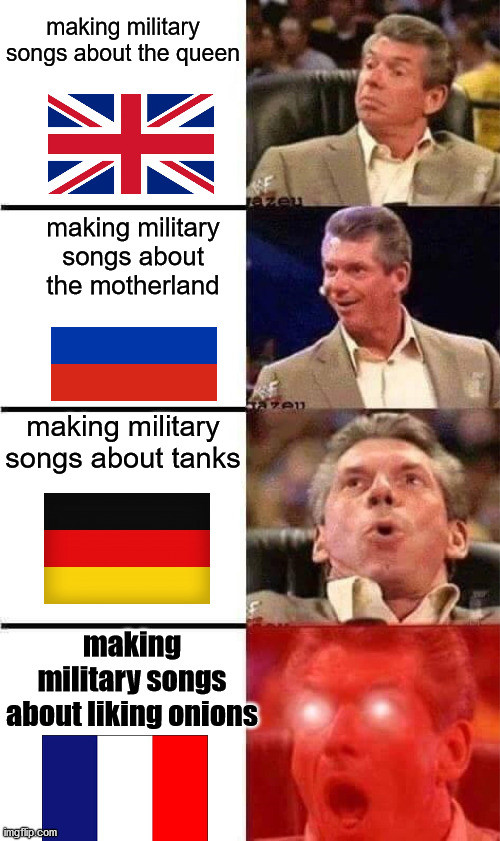 military songs in diferent countries |  making military songs about the queen; making military songs about the motherland; making military songs about tanks; making military songs about liking onions | image tagged in vince mcmahon reaction w/glowing eyes | made w/ Imgflip meme maker