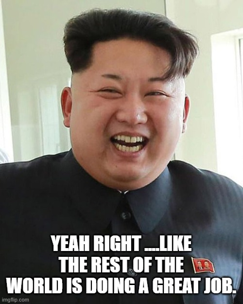 YEAH RIGHT ....LIKE THE REST OF THE WORLD IS DOING A GREAT JOB. | made w/ Imgflip meme maker