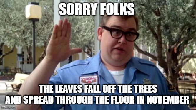 Is It Fall Yet? |  SORRY FOLKS; THE LEAVES FALL OFF THE TREES AND SPREAD THROUGH THE FLOOR IN NOVEMBER | image tagged in sorry folks,fall,season,so true | made w/ Imgflip meme maker