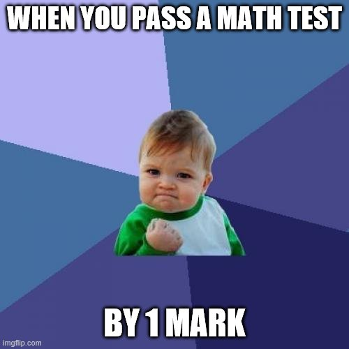 It's true tho! |  WHEN YOU PASS A MATH TEST; BY 1 MARK | image tagged in memes,success kid | made w/ Imgflip meme maker