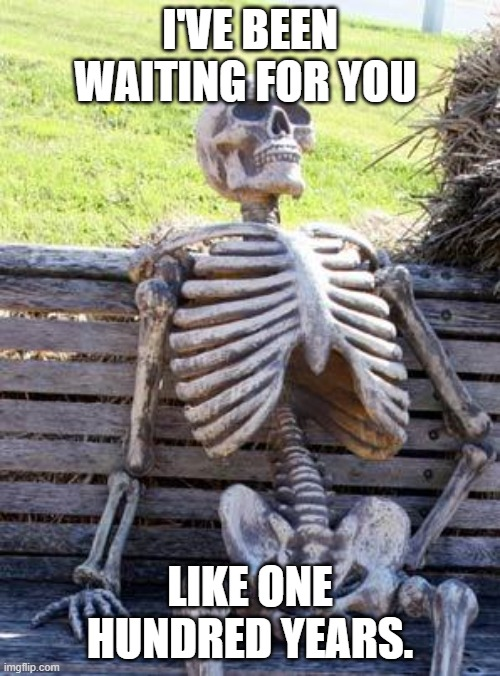 Waiting Skeleton Meme |  I'VE BEEN WAITING FOR YOU; LIKE ONE HUNDRED YEARS. | image tagged in memes,waiting skeleton | made w/ Imgflip meme maker
