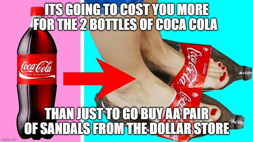 God why do these people exist |  ITS GOING TO COST YOU MORE FOR THE 2 BOTTLES OF COCA COLA; THAN JUST TO GO BUY AA PAIR OF SANDALS FROM THE DOLLAR STORE | image tagged in sad,why,5 minute crafts,memes,crappy design | made w/ Imgflip meme maker