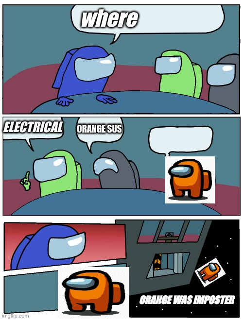 Among Us Meeting |  where; ELECTRICAL; ORANGE SUS; ORANGE WAS IMPOSTER | image tagged in among us meeting | made w/ Imgflip meme maker