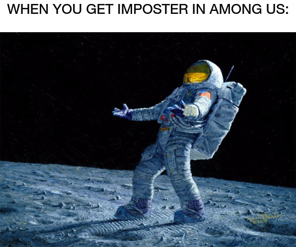 astronaut |  WHEN YOU GET IMPOSTER IN AMONG US: | image tagged in astronaut | made w/ Imgflip meme maker