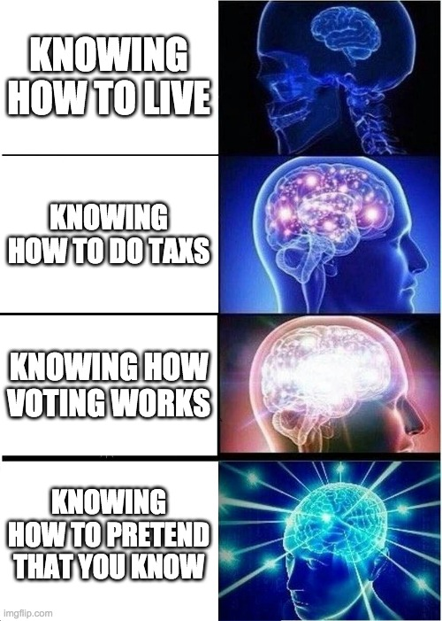 Expanding Brain Meme |  KNOWING HOW TO LIVE; KNOWING HOW TO DO TAXS; KNOWING HOW VOTING WORKS; KNOWING HOW TO PRETEND THAT YOU KNOW | image tagged in memes,expanding brain | made w/ Imgflip meme maker